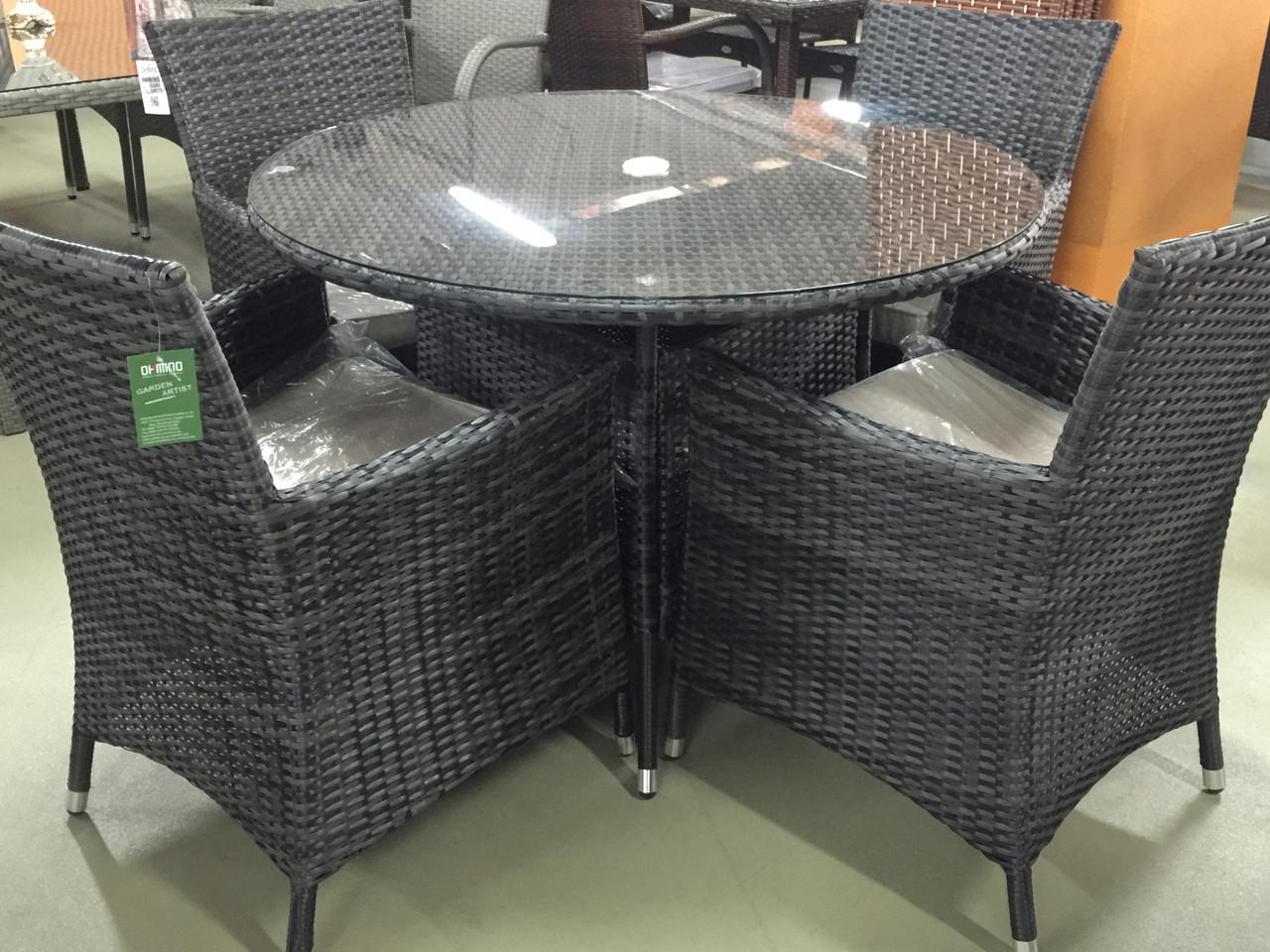 Комплект мебели из искусственного ротанга (черный)