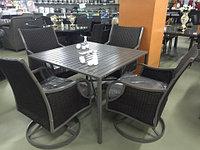 Набор мебели, стол + четыре крутящихся кресла, искусственный ротанг с железным крашеным каркасом, фото 1