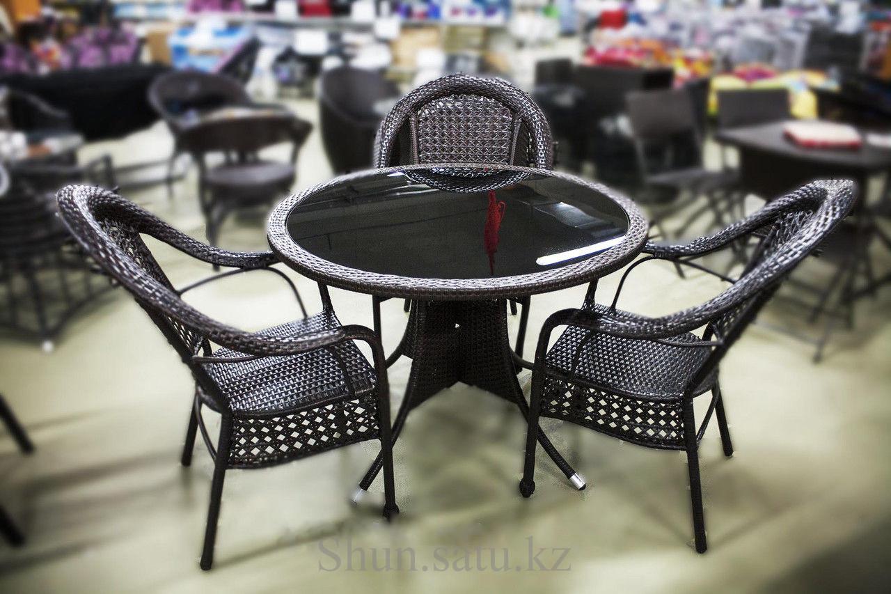 Набор мебели, стол + три стула, искусственный ротнаг