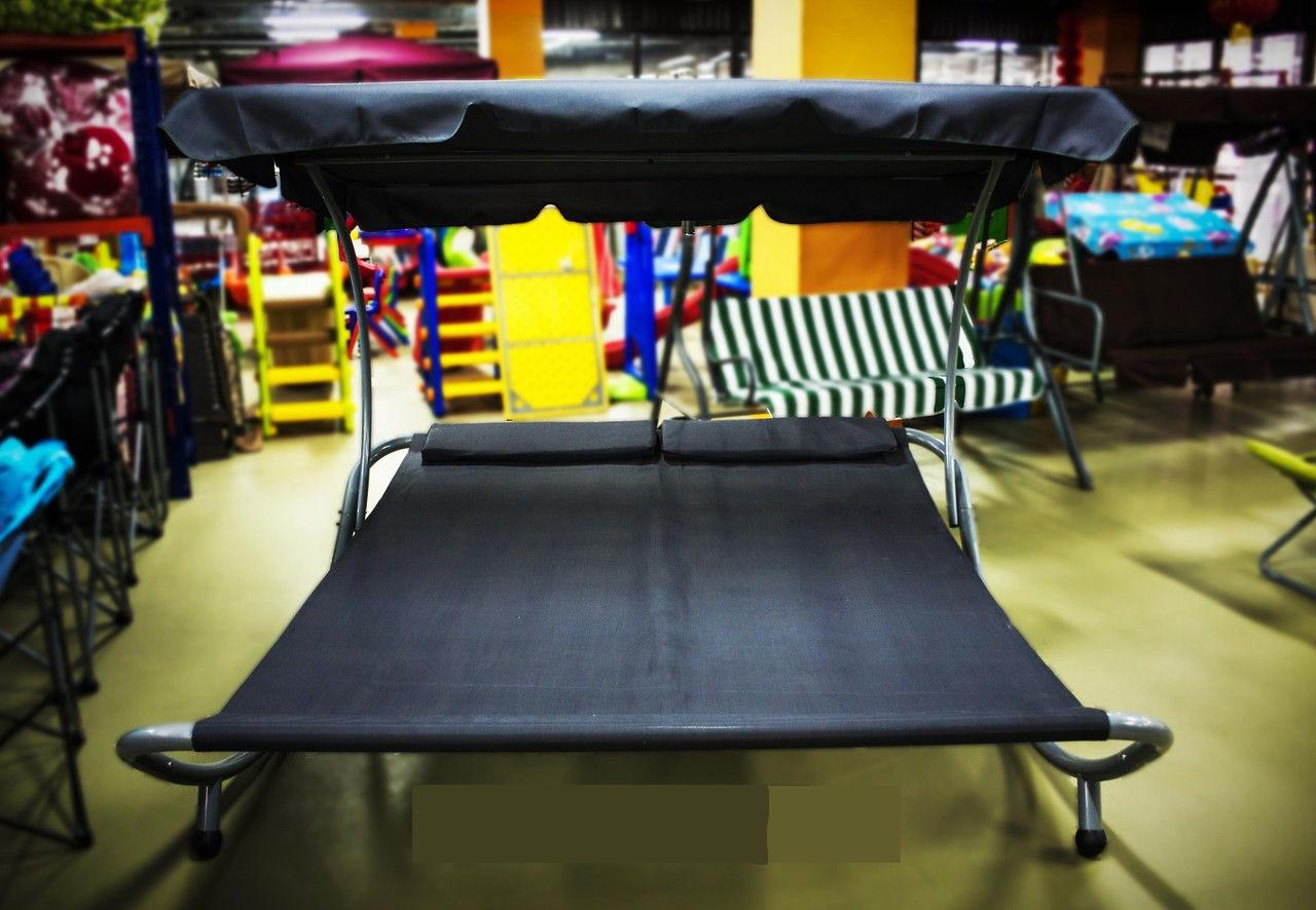 Кровать садовая с навесом, 100 * 200 * 150 см, черный