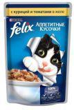 Felix курица и томаты Аппетитные кусочки влажный корм для кошек, пауч, 85 г