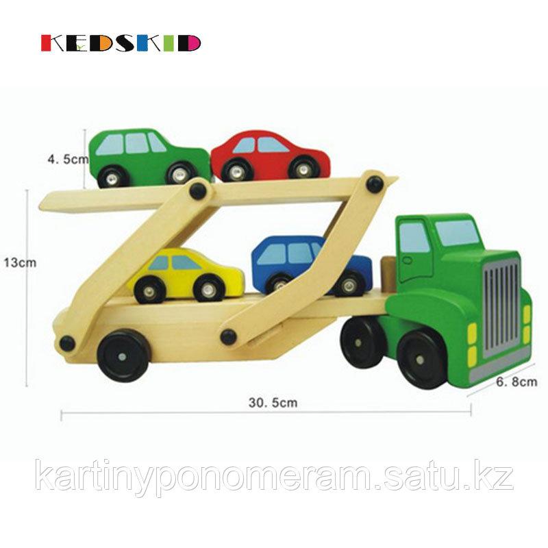 Деревянный двухэтажный грузовик с машинками