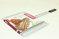 1044 FISSMAN Решетка для приготовления стейка на гриле 37x28x3 см с деревянной ручкой (хромированное покрытие)