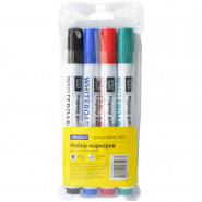Набор маркеров для белых досок OfficeSpace 4цв., пулевидный, 2,5мм, чехол с европодвесом