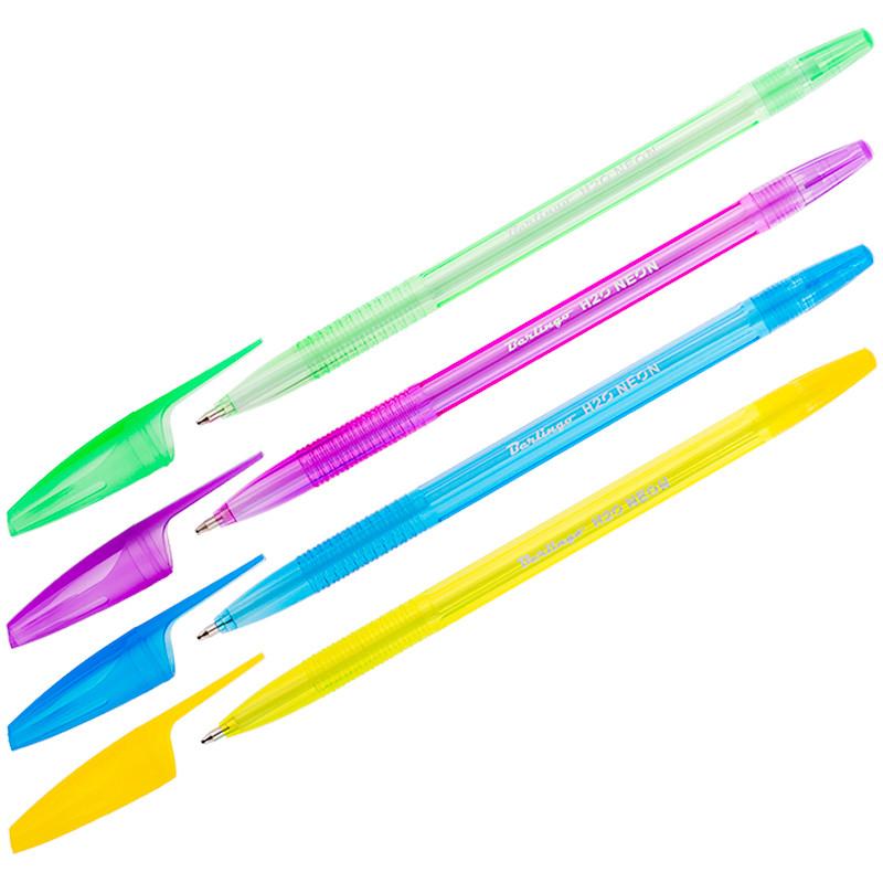 """Ручка шариковая Berlingo """"H-20 Neon"""" синяя, 1,0 мм."""