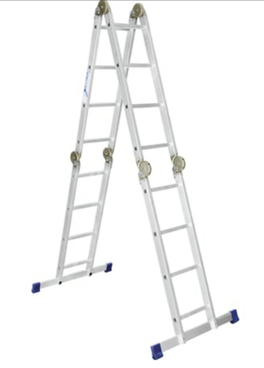 Лестница-трансформер алюминиевая шарнирная 4х3 ступени
