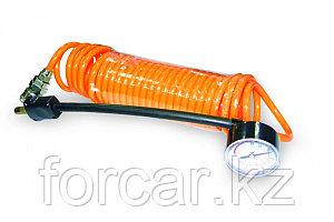 Универсальный шланг-удлинитель с манометром для автомобильных компрессоров