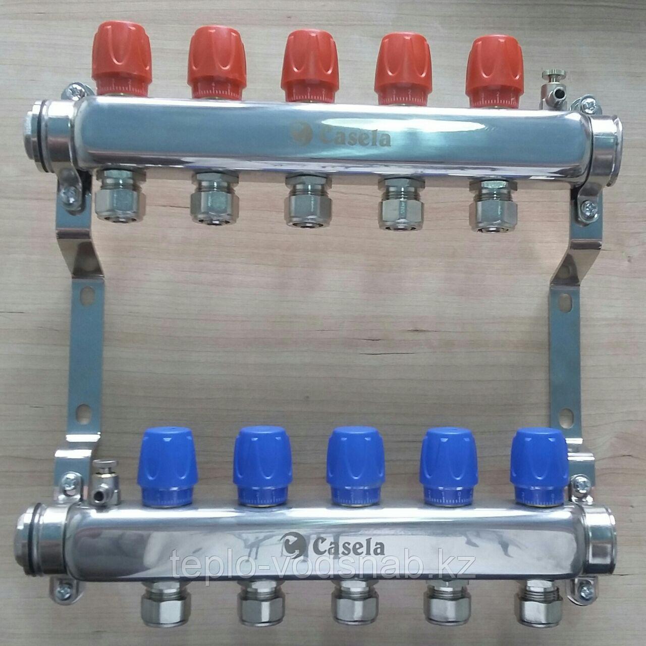 Коллектор для теплого пола 5 выхода + крепление Casela