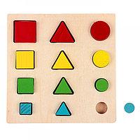 """Головоломка деревянная """"Логические дроби"""", учим формы, цвета и размеры, 12 элементов"""