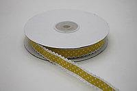 Репсовая лента с рисунком (Горох) 1,5 см. - жёлтая (25 ярдов (22,8 метра)
