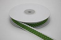Репсовая лента с рисунком (Горох) 1,5 см. - зелёная (25 ярдов (22,8 метра)