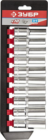 """Набор ЗУБР """"МАСТЕР"""": Торцовые головки (1/2"""") удлиненные на пластиковом рельсе, Cr-V, 10-19мм, 10 предметов                                            , фото 2"""