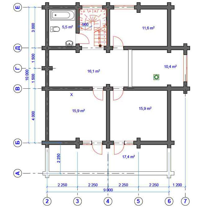 Проект деревянного дома из оцилиндрованного дерева, план
