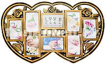 Фоторамка Love на 8 фото в форме сердца (бронзовая)