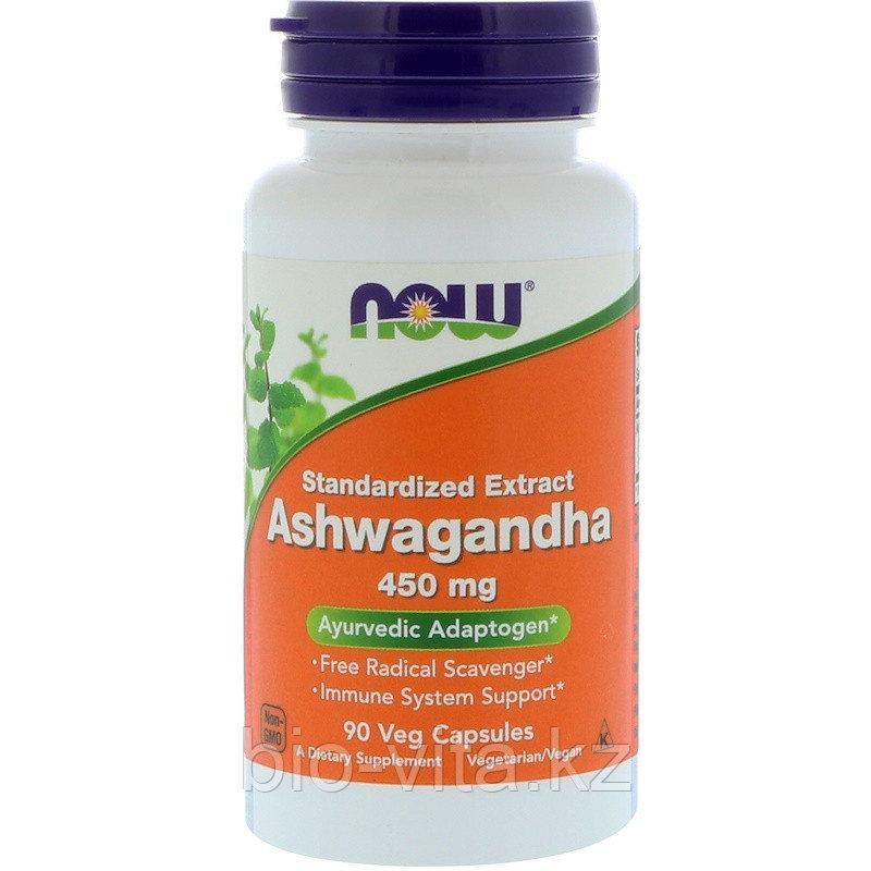 Now Foods, Ашвагандха, 450 мг, 90 капсул.