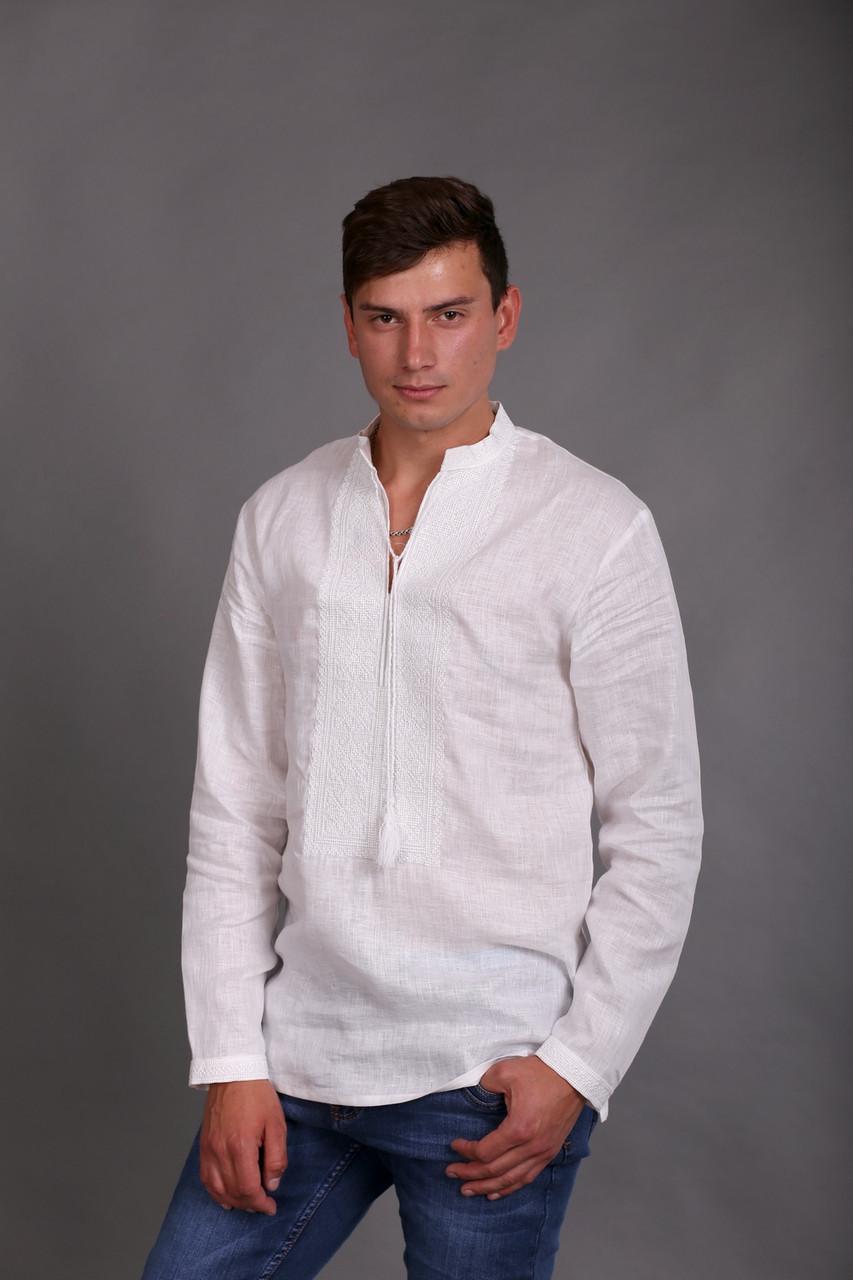 Вышиванка мужская белым по белому, длинный рукав - фото 1