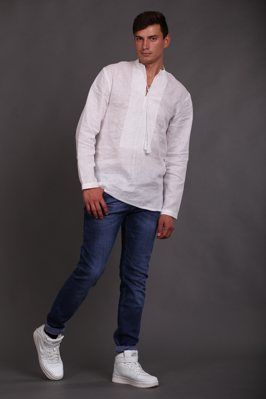 Вышиванка мужская белым по белому, длинный рукав - фото 2