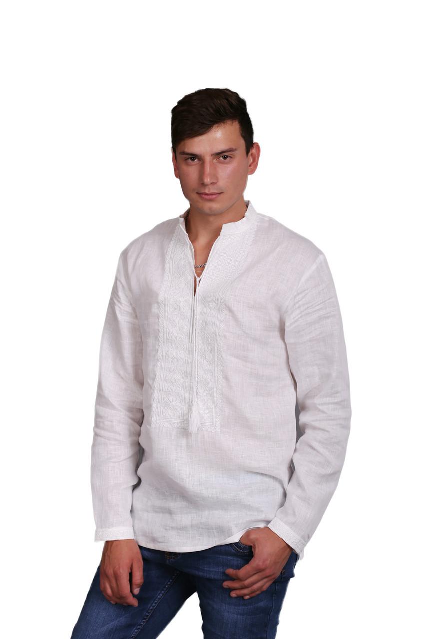Вышиванка мужская белым по белому, длинный рукав - фото 3