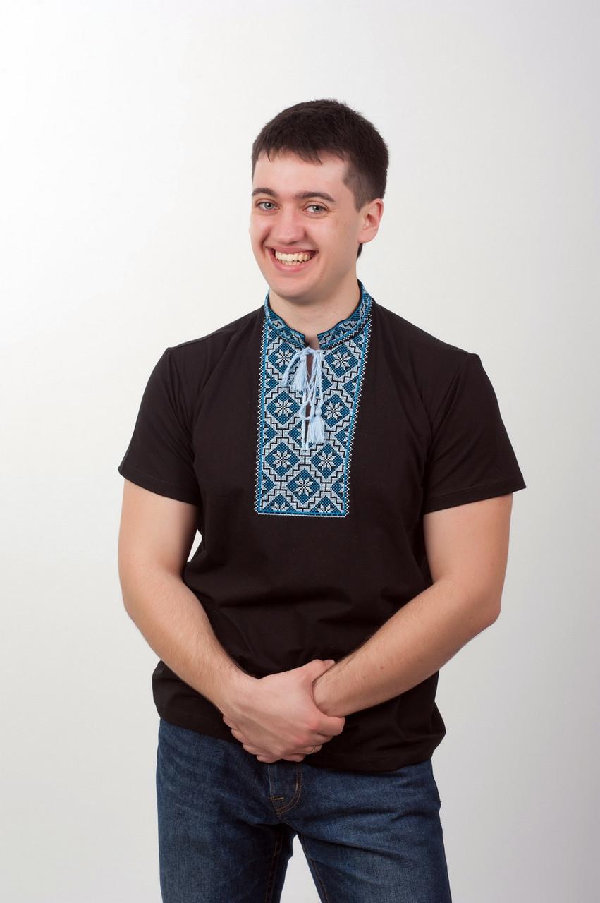 Вышитая футболка мужская чёрная голубая вышивка - фото 2