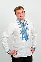 Вышиванка мужская Гетьман (синий орнамент)