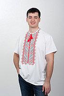 Футболка вышиванка мужская с красно-черной вышивкой