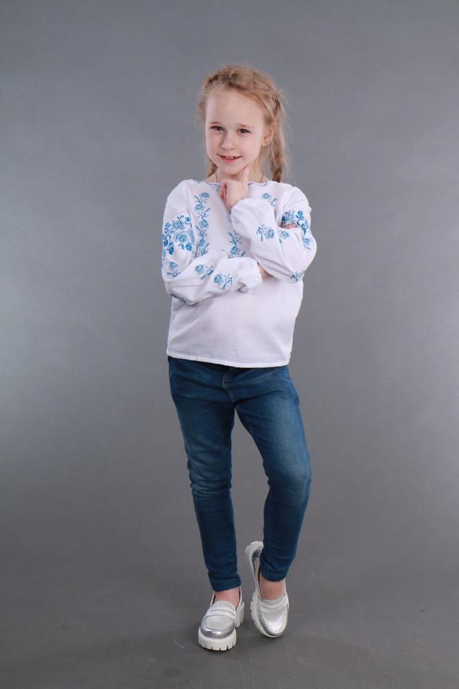 Вышитая сорочка для девочки (голубая вышивка) - фото 4