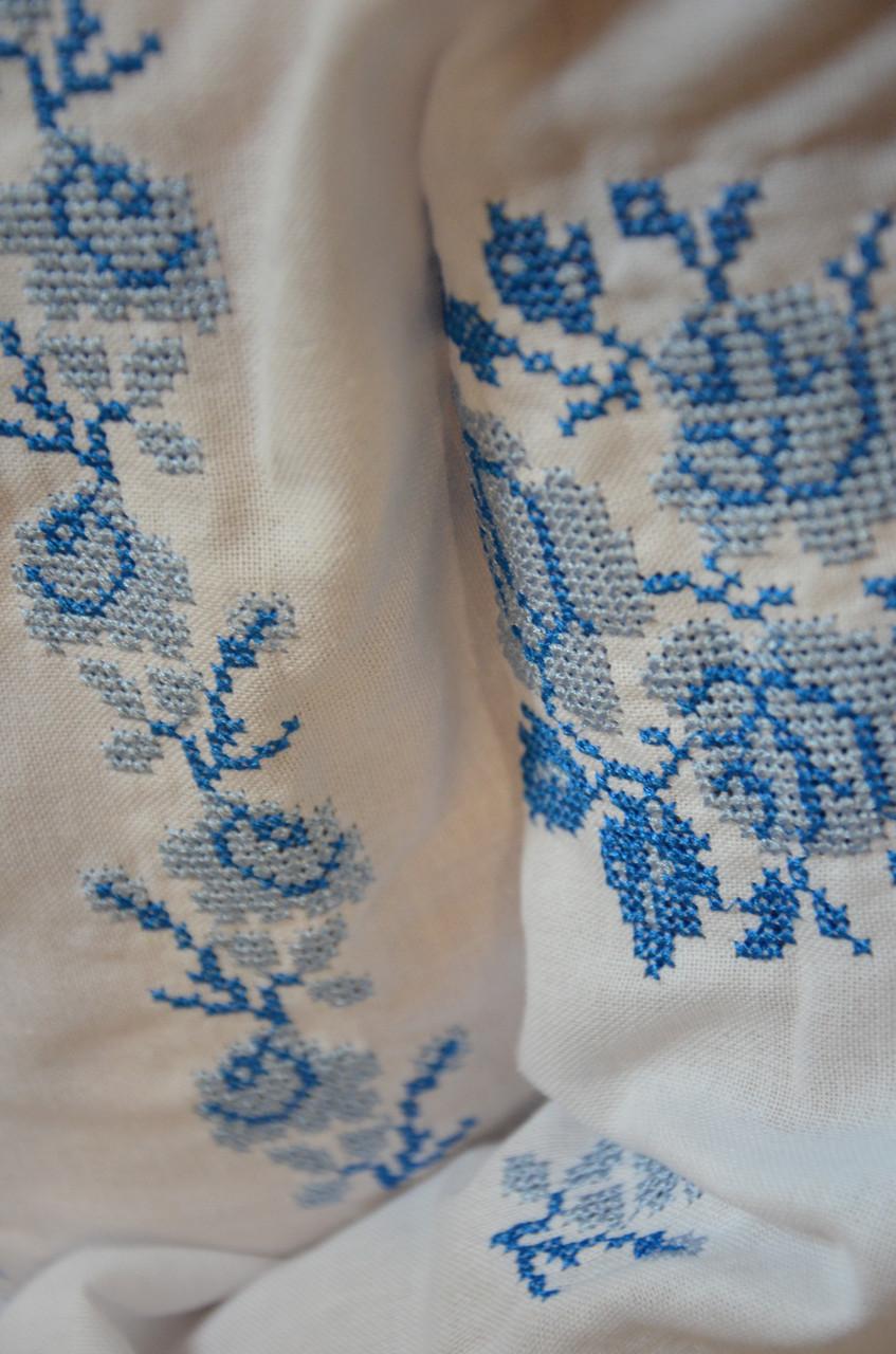 Вышитая сорочка для девочки (голубая вышивка) - фото 5
