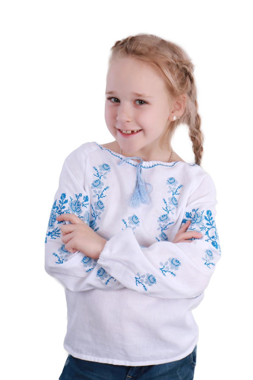 Вышитая сорочка для девочки (голубая вышивка) - фото 6
