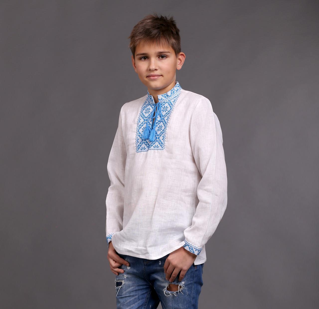 Вышиванка на мальчика с голубым орнаментом - фото 1