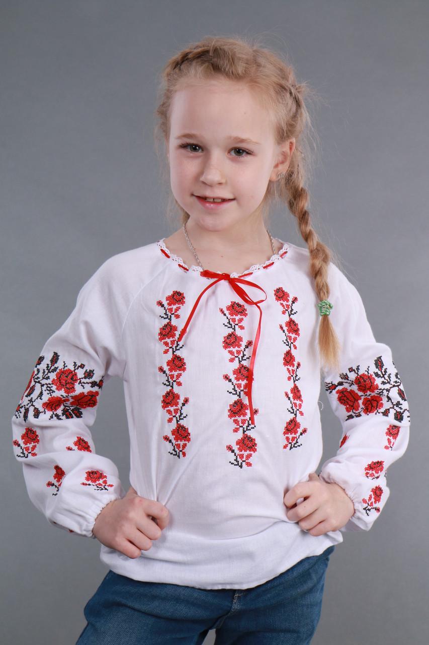 """Вышиванка на девочку """"Роза рушничок"""" Собственное производство, 98-146 - фото 1"""