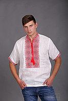 Украинская мужская вышиванка, красная вышивка, короткий рукав
