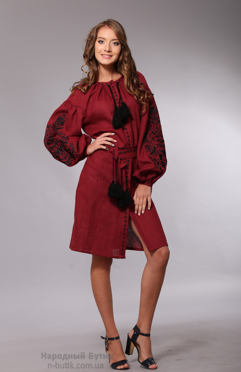 Платье с вышивкой Дерево жизни, бордовый лен, черная вышивка - фото 2