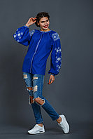 Вышиванка женская Окошко 2 , синий лен, белая вышивка