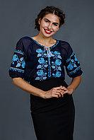 Женская блузка - вышиванка из синего шифона