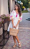 Платье короткое с клином Роза новая лен белый виш фуксия