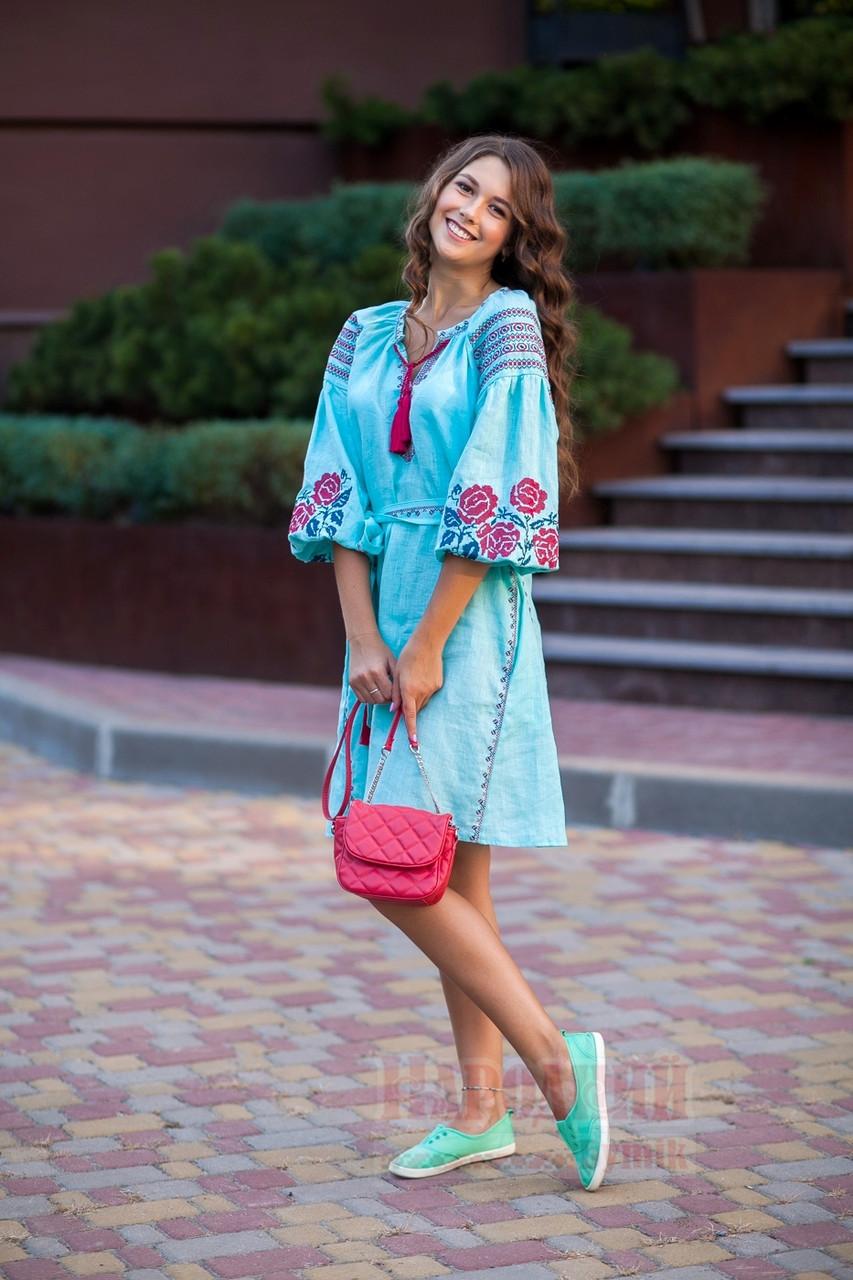 Платье короткое с клином Роза Новая лен мятный вышивка бордо - фото 1