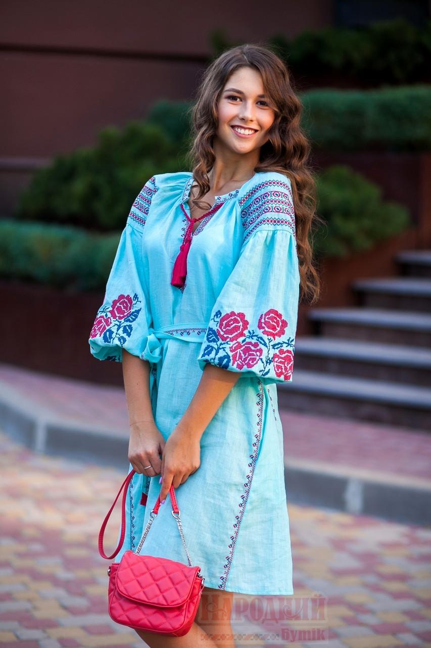 Платье короткое с клином Роза Новая лен мятный вышивка бордо - фото 2
