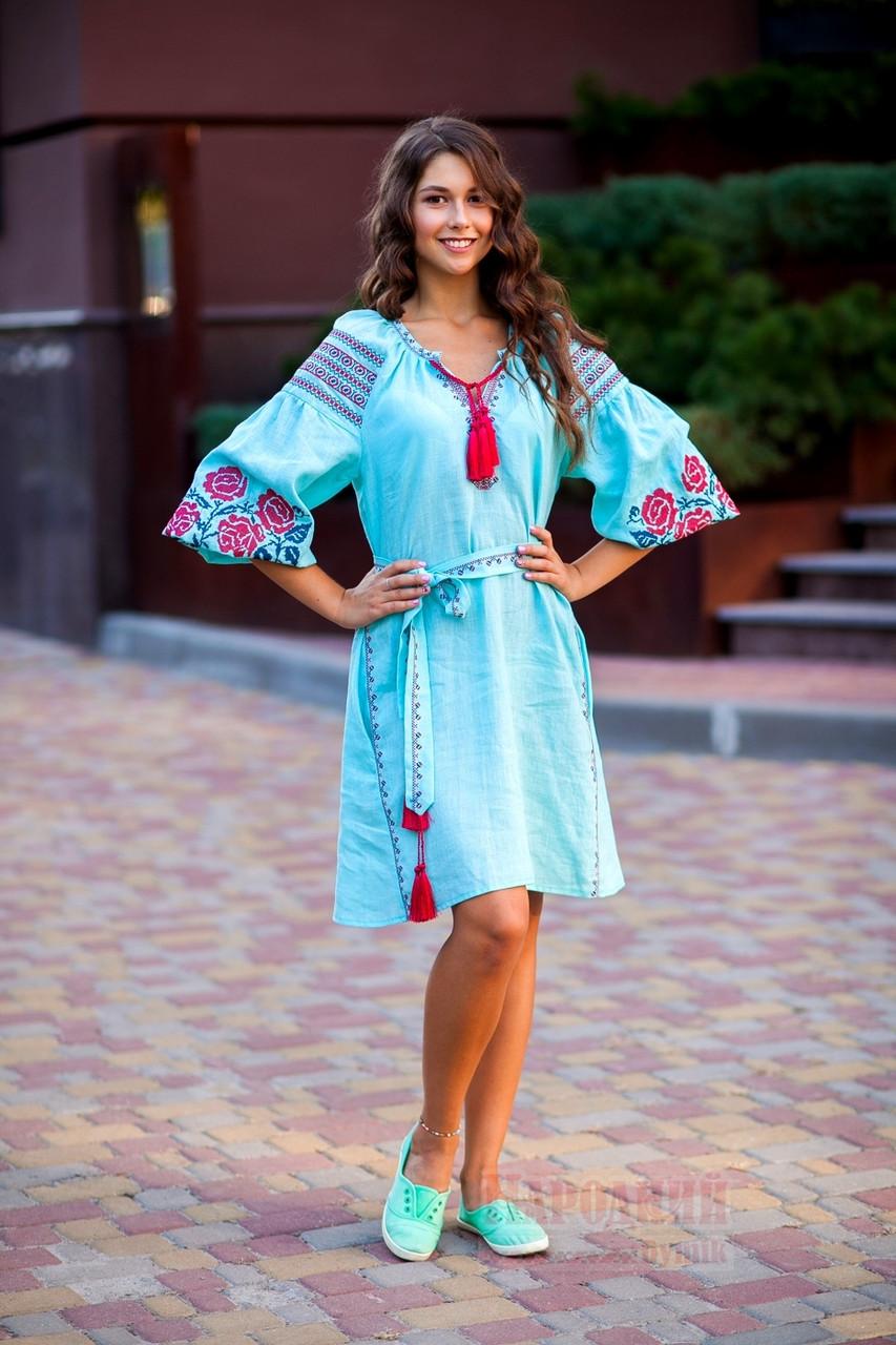 Платье короткое с клином Роза Новая лен мятный вышивка бордо - фото 3
