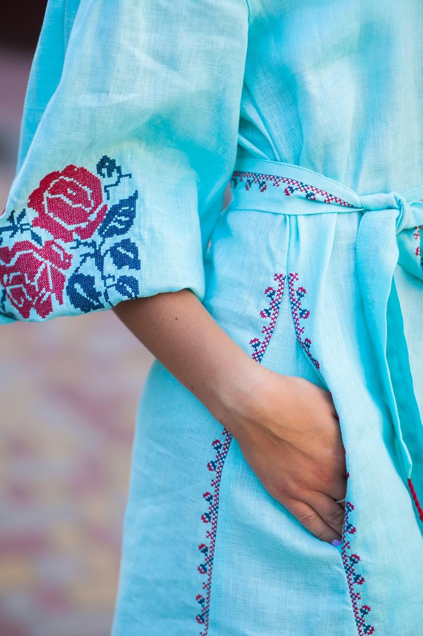 Платье короткое с клином Роза Новая лен мятный вышивка бордо - фото 5
