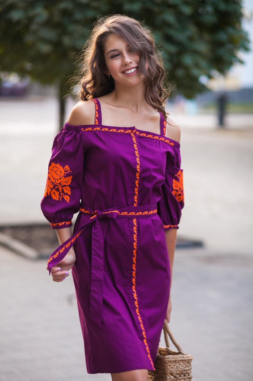 Сарафан с бретелями короткий виноград вышивка оранжевая ткань рубашечная - фото 2