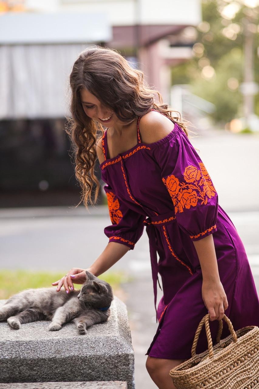 Сарафан с бретелями короткий виноград вышивка оранжевая ткань рубашечная - фото 4