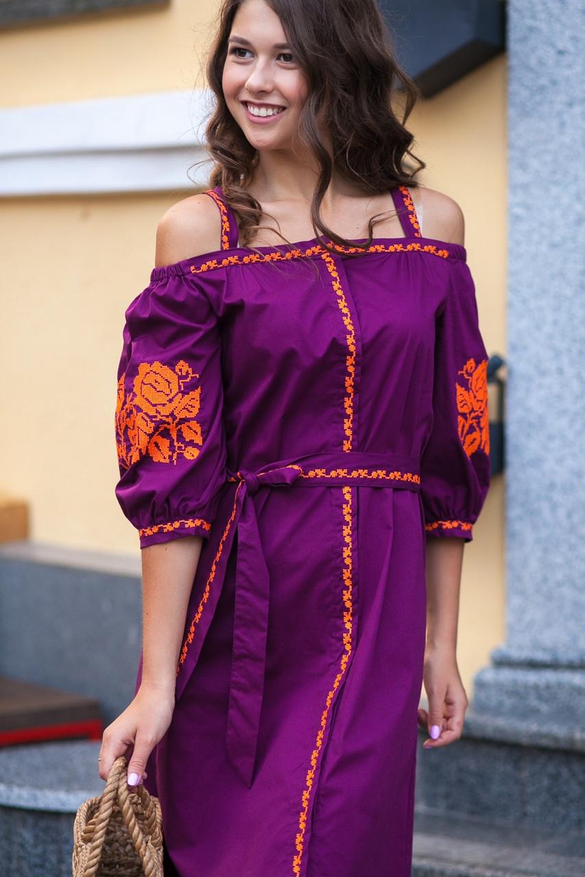 Сарафан с бретелями короткий виноград вышивка оранжевая ткань рубашечная - фото 5