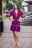 """Платье с оборкой """"Роза Новая""""виноград рубашечная ткань оранжевая вишивка"""