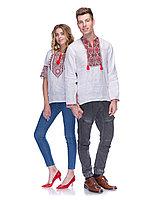 Вышиванки для пары из белого льна с красно - чорной вышивкой