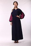 Синее платье из штапеля с вышивкой Дерево жизни ( розовая вышивка)