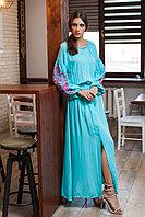 """Длинное платье, цвета """"мята"""" с вышивкой Дерево жизни"""