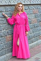 Длинное розовое платье с вышивкой Дерево жизни