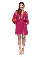 Короткое льняное платье в этно - стиле