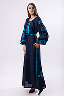 """Вышитое платье """"Волшебная Птица""""  синий лен берюзовая вышивка"""