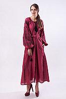 Длинное бордовое вышитое платье с черной вышивкой